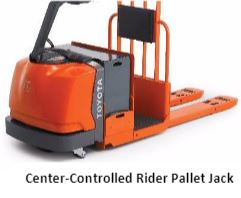 Center controlled rider pallet jack