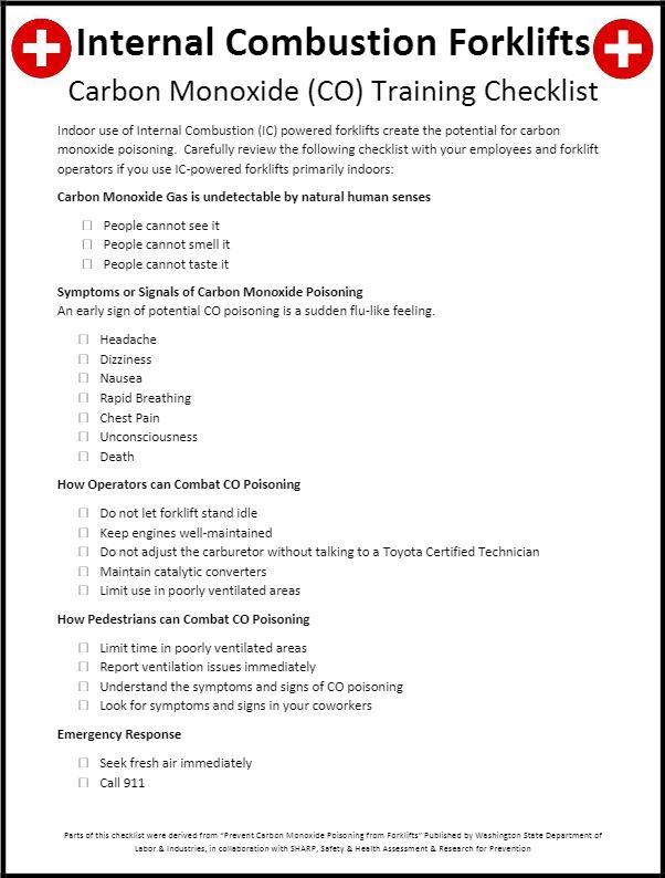 Internal Combustion Forklift Checklist